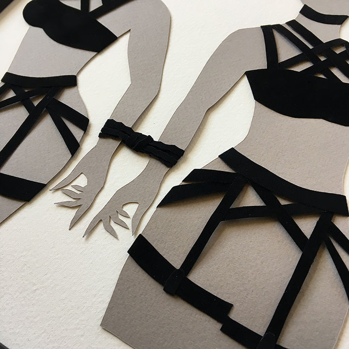 """LAPINE III (detail)  Hand cut paper La Bodega Gallery """"Venus 2018"""""""