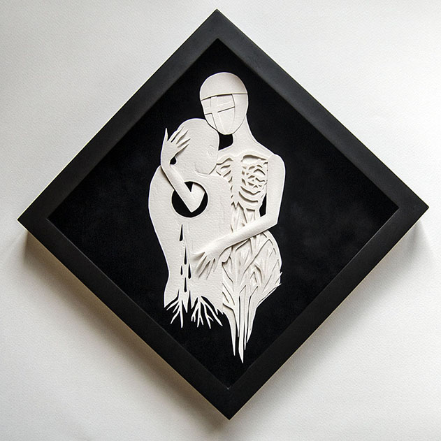 "PASSENGER Hand cut paper Hudson Hughes Gallery ""On A Dark Night"""