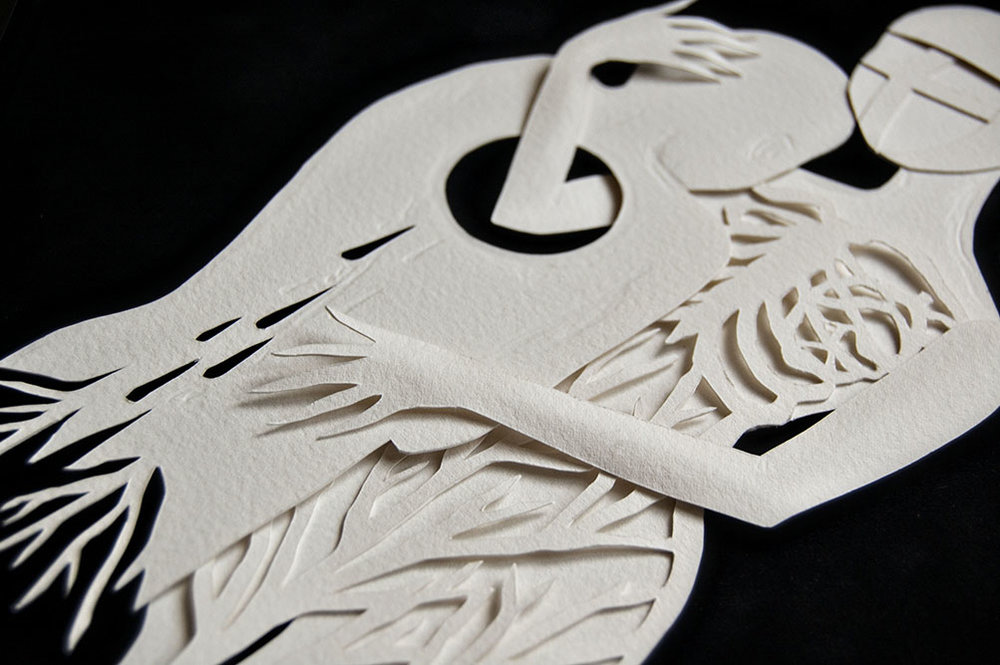 "PASSENGER (detail) Hand cut paper Hudson Hughes Gallery ""On A Dark Night"""