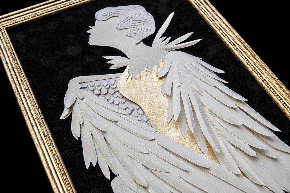 HARPY (DETAIL) Hand cut paper/ Metal Leaf