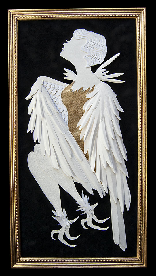 "HARPY Hand cut paper/ Metal Leaf Dimensions:  11"" x 21.25"" (Framed)"