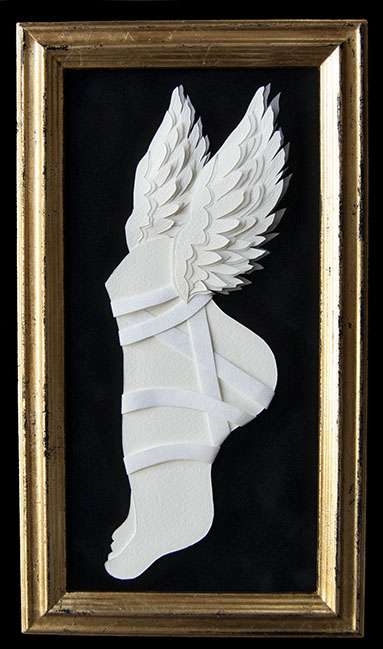 "HERMES Hand Cut Paper & Vellum  Dimensions: 8"" x 13.75"" (Framed)"