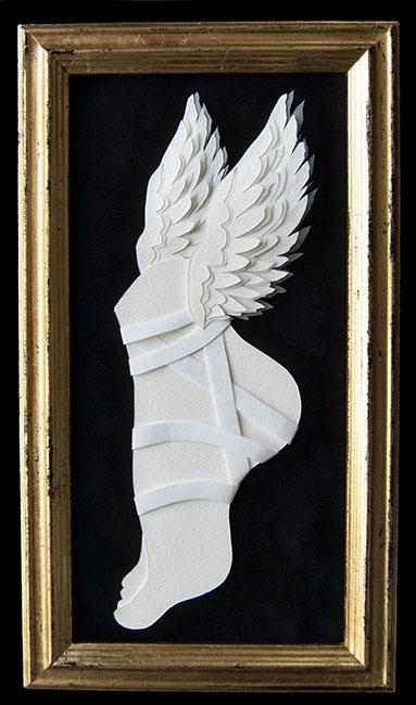 "HERMES Hand Cut Paper & Vellum  Dimensions: 8"" x 13.75"" (Framed)"
