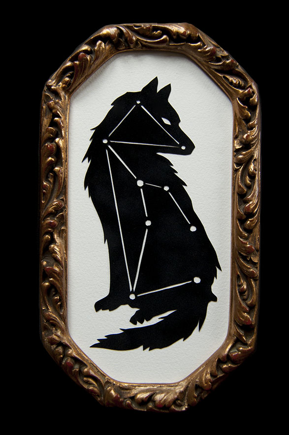 "LUPUS Hand Cut Paper Dimensions: 5.125"" x 9.125"" Framed"