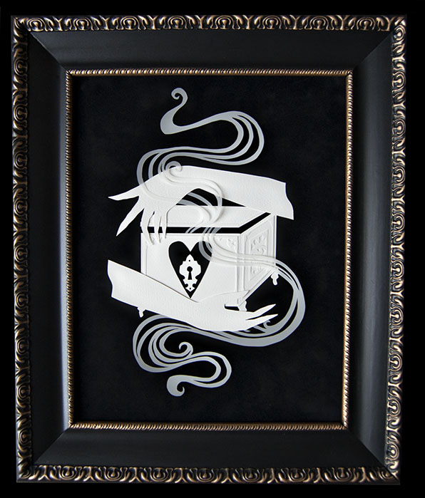 "PANDORA'S BOX Hand Cut Paper & Vellum  Dimensions: 15"" x 18"" (Framed)"