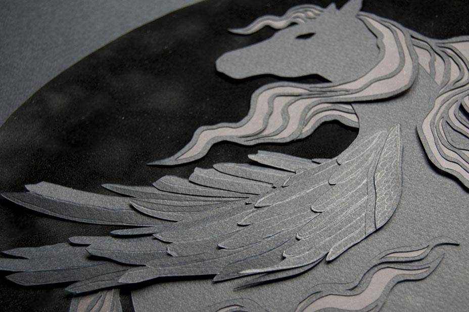 PEGASUS (DETAIL) Hand Cut Paper & Vellum