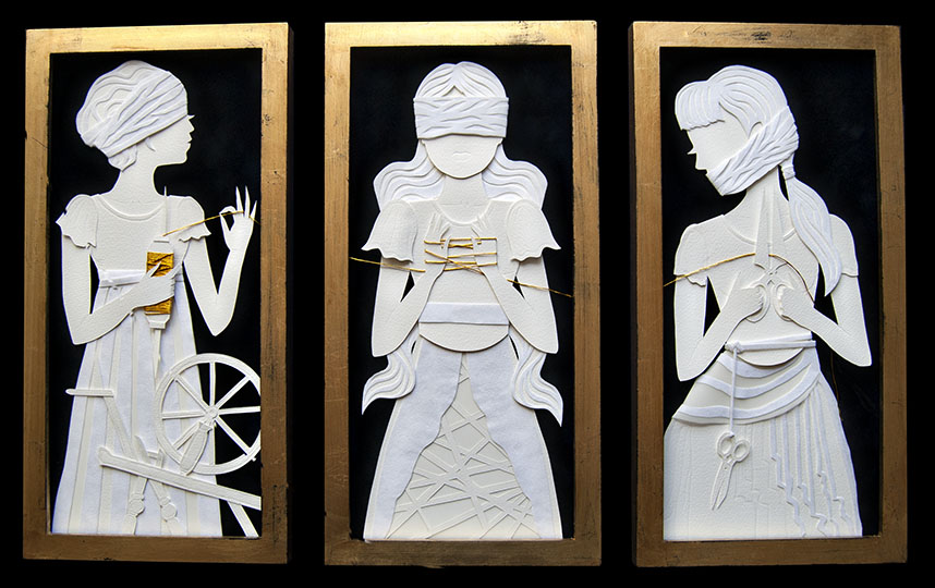"THE FATES: CLOTHO, LACHESIS & ATROPOS Hand Cut Paper, Vellum, Metallic Cord Dimensions: 8""x 16.25"" (Framed, each)"