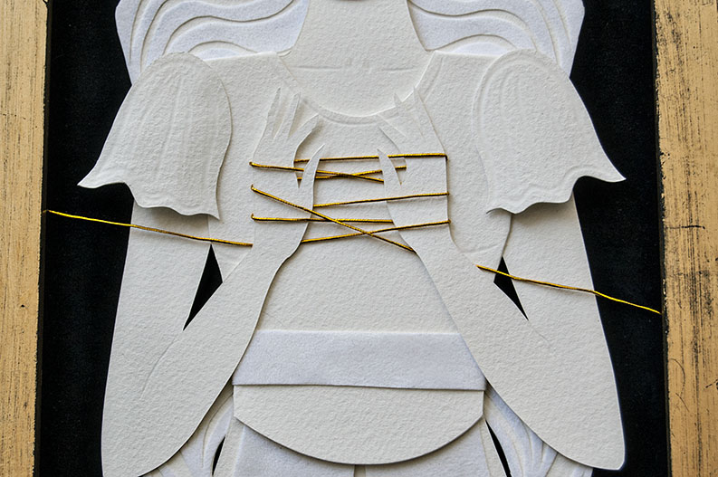 THE FATES: DETAIL OF LACHESIS Hand Cut Paper, Vellum, Metallic Cord
