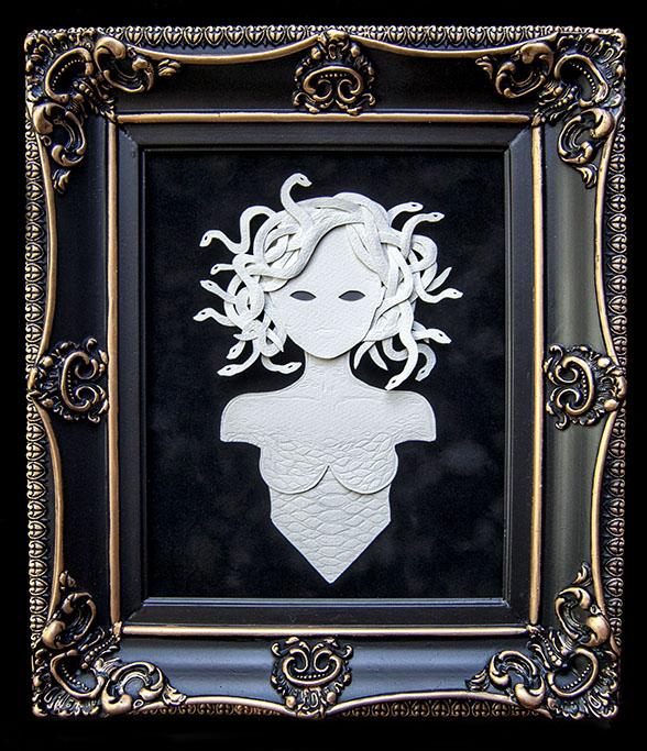"MEDUSA Hand Cut Paper, Vellum Dimensions: 12.5"" x 14.75"" (Framed)"