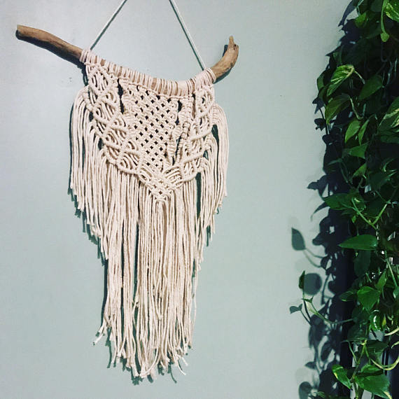 Knots, Rope & Love - Looking for a unique statement piece? Check out this wall hanging - modern macrame with a boho twist! We met this handmade artisan at an event earlier this fall.She makes wall hangings and hanging pot holders and her work is simply beautiful! You can't just walk into a department store and find something like this.