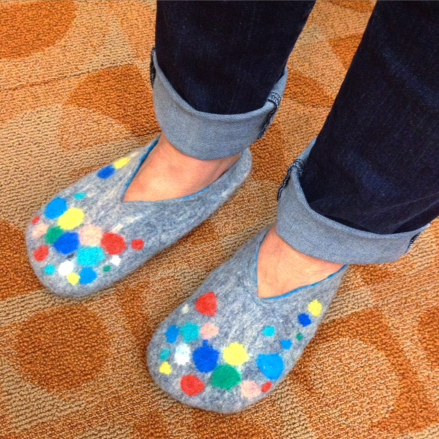 Wet Felted Slippers - Polka Dot Madness