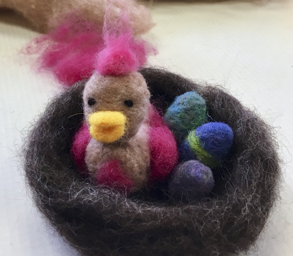 Needle Felted Bird in a Nest by a first timer!