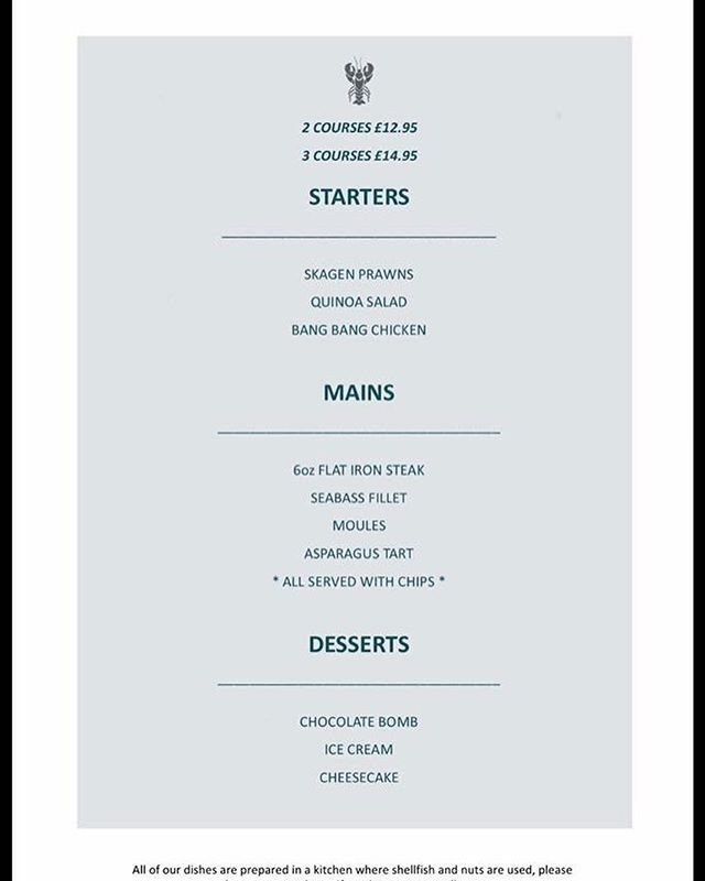 By popular demand, a copy of our latest menu #Wirral #WestKirby #dining