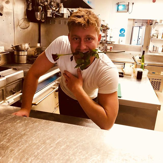 Our chef's getting ready for Valentine's Day! #rose #valentines #food #chef