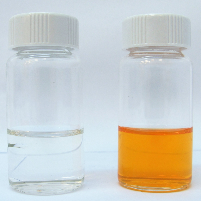 Soda after filtration through graphene filtration system (left) and PTFE filtration system (right)