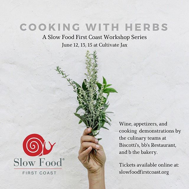 Not sure what to do with all those lovely herbs growing in your garden? We've got you covered! Join us next week as we start our Cooking with Herbs workshop series @cultivatejax ! Join chefs from @bbsrestaurant @biscottisjax and b the bakery for cooking demonstrations, wine, appetizers, plus plenty of Q & A. Space is limited. Ticket link in bio! ☝️🌿
