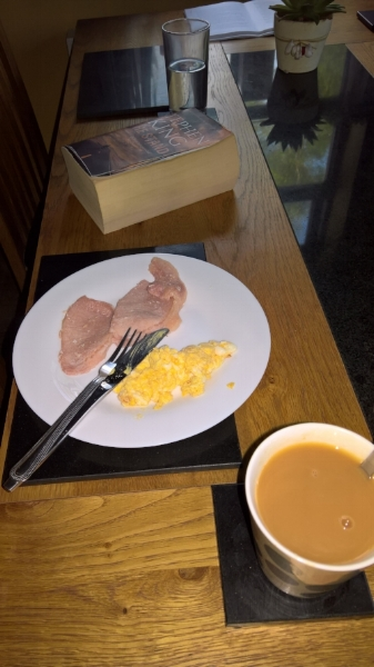 Breakfast with Stephen King - bacon and scrambled eggs.