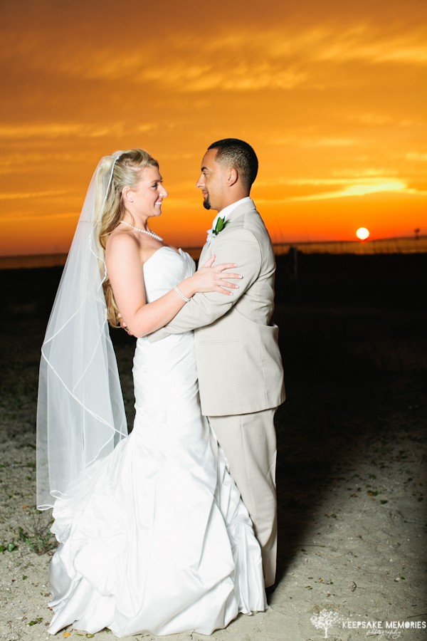 wedding sunset in bald head island nc