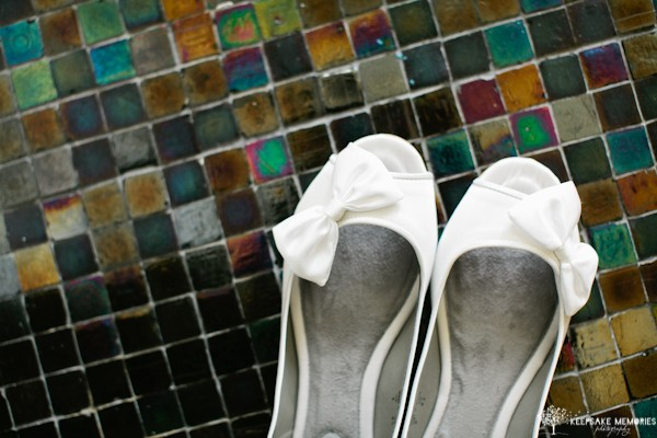 white wedding shoes with bow