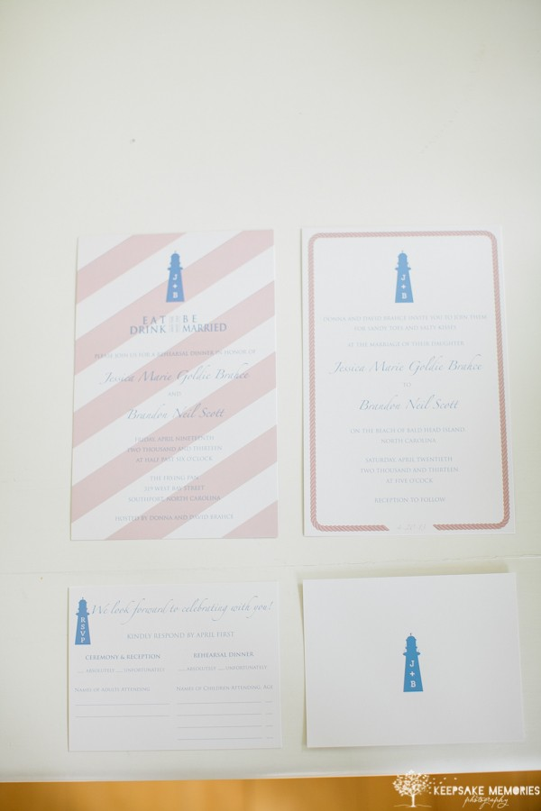 lighthouse wedding invitation suite