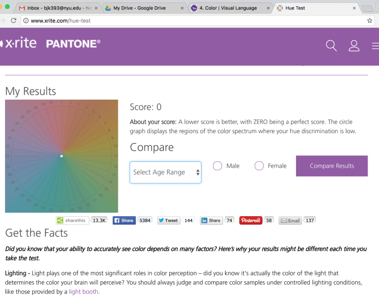 I took the hue test and received a score of 0.