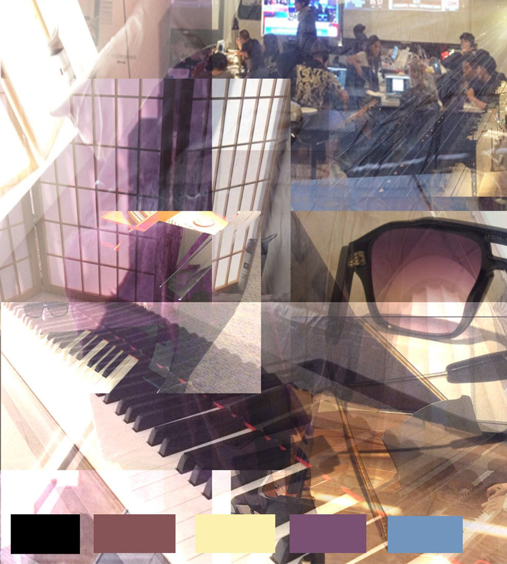 These are the images I have taken from my life over the past week. I was able to take pictures of the piano I play in the practice rooms, void of color but represents a big portion of my devotion to music throughout the years and is very meaningful to me. I selected images of personal items such as my glasses and focused on their plum tint, the gold trim and the gold iPod that compliment the wood floors in my apartment and the inside of the grand piano. I find this neutral tone is similar to the selection from the ITP floor.