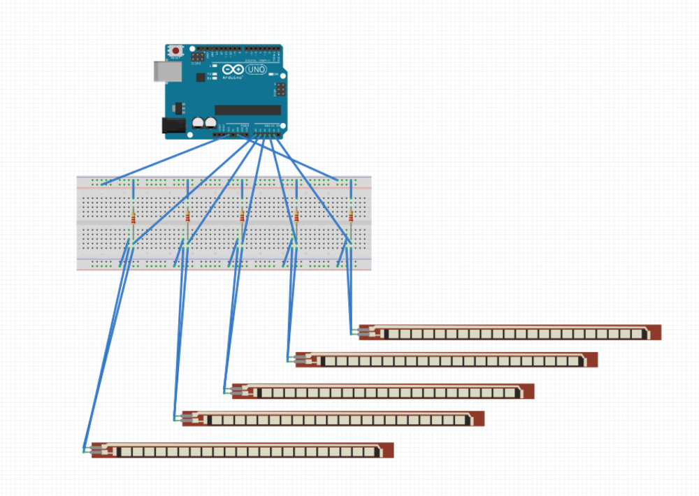 Arduino, Breadboard, Resistors, Flex Sensors