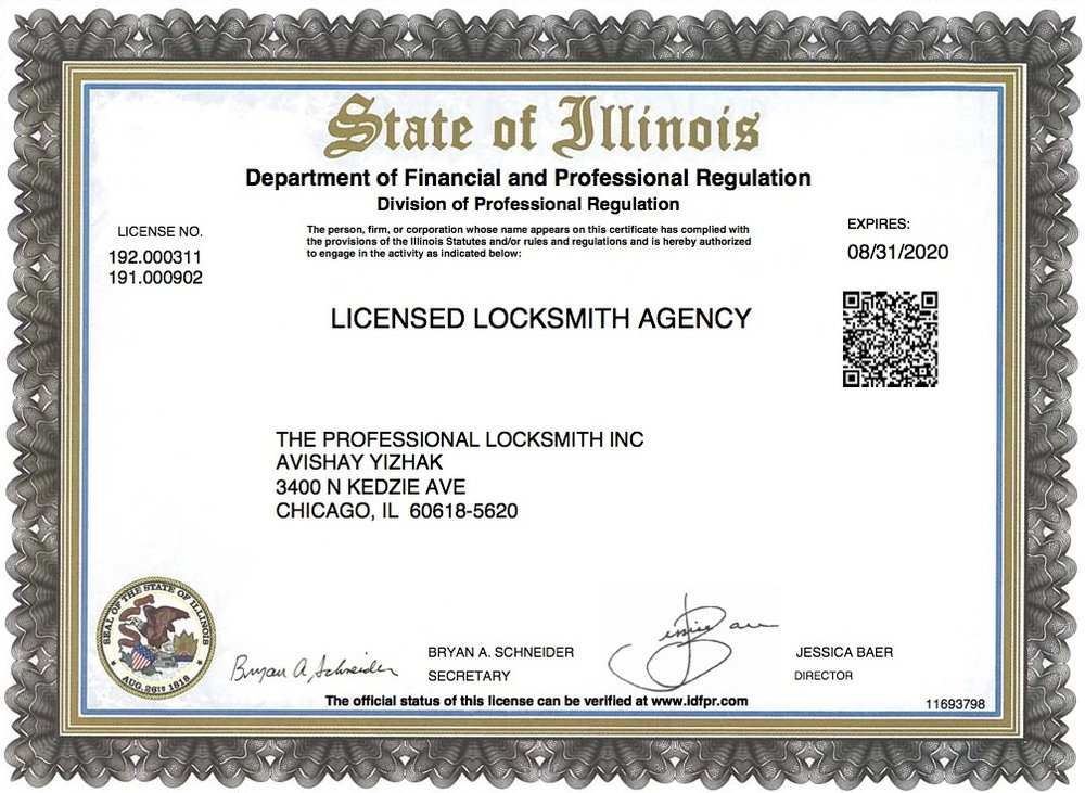 Licensed and Certified in the State of Illinois
