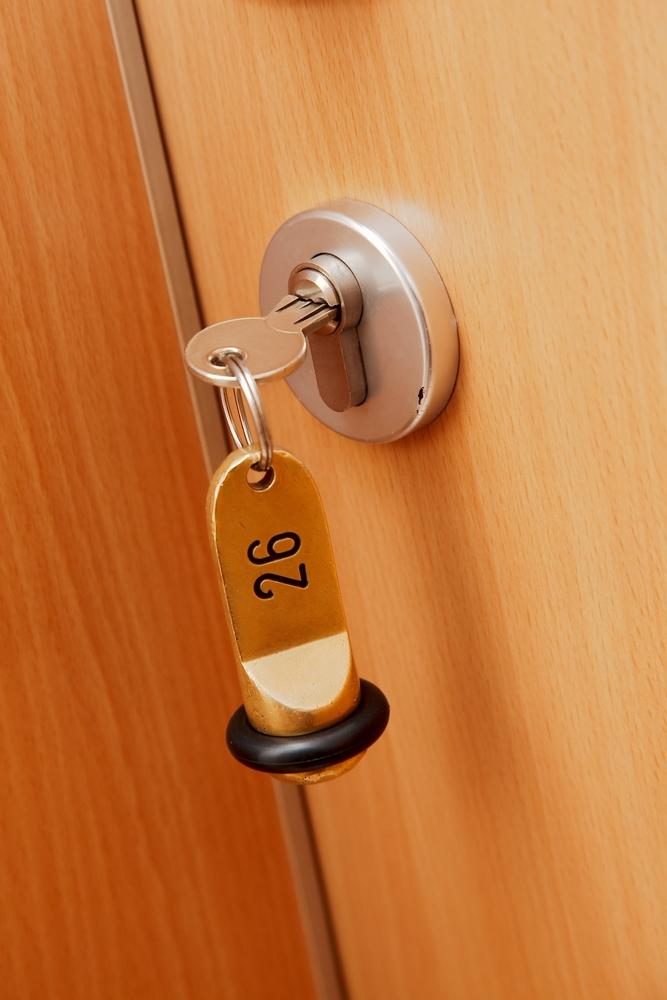 Key in a locked apartment door