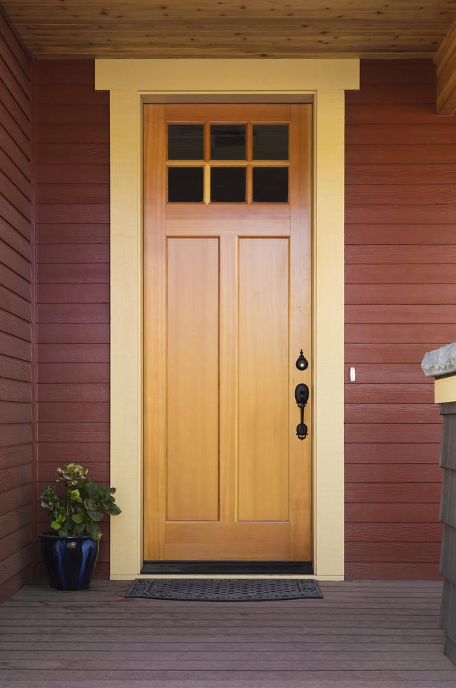 a new wooden door installed