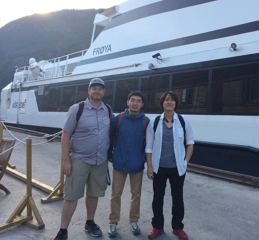 (From left to right) Timothy Schempp, Haoran Zhang and Minsung Hong at Sogndal Kai