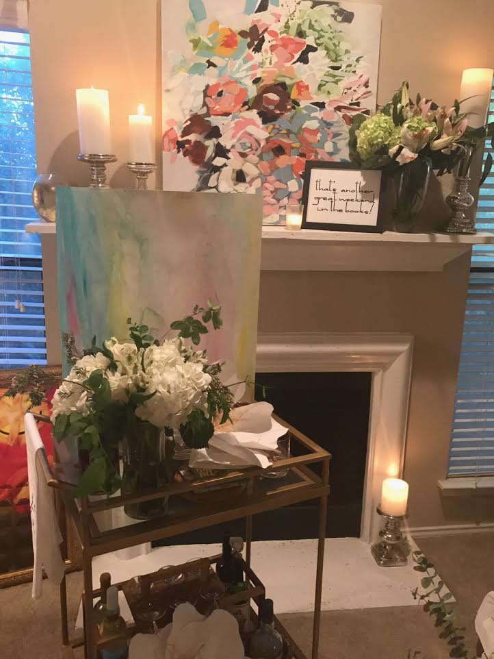 How beautiful are these flowers positioned in front of one of my friends,  Taelor Fisher Painting's  bouquet painting??!