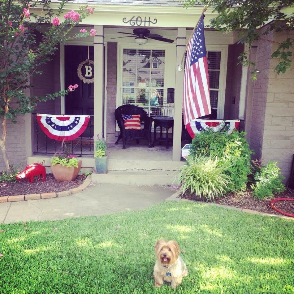 Bentley helping me decorate the porch a few years ago!!