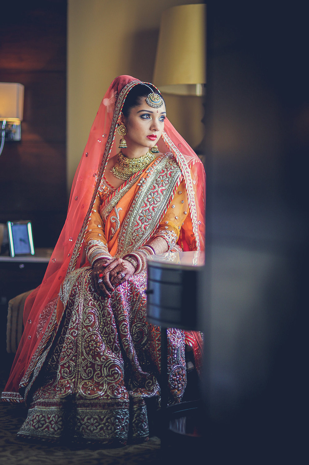 8. Bridal portrait minutes before the wedding, Delhi.jpg