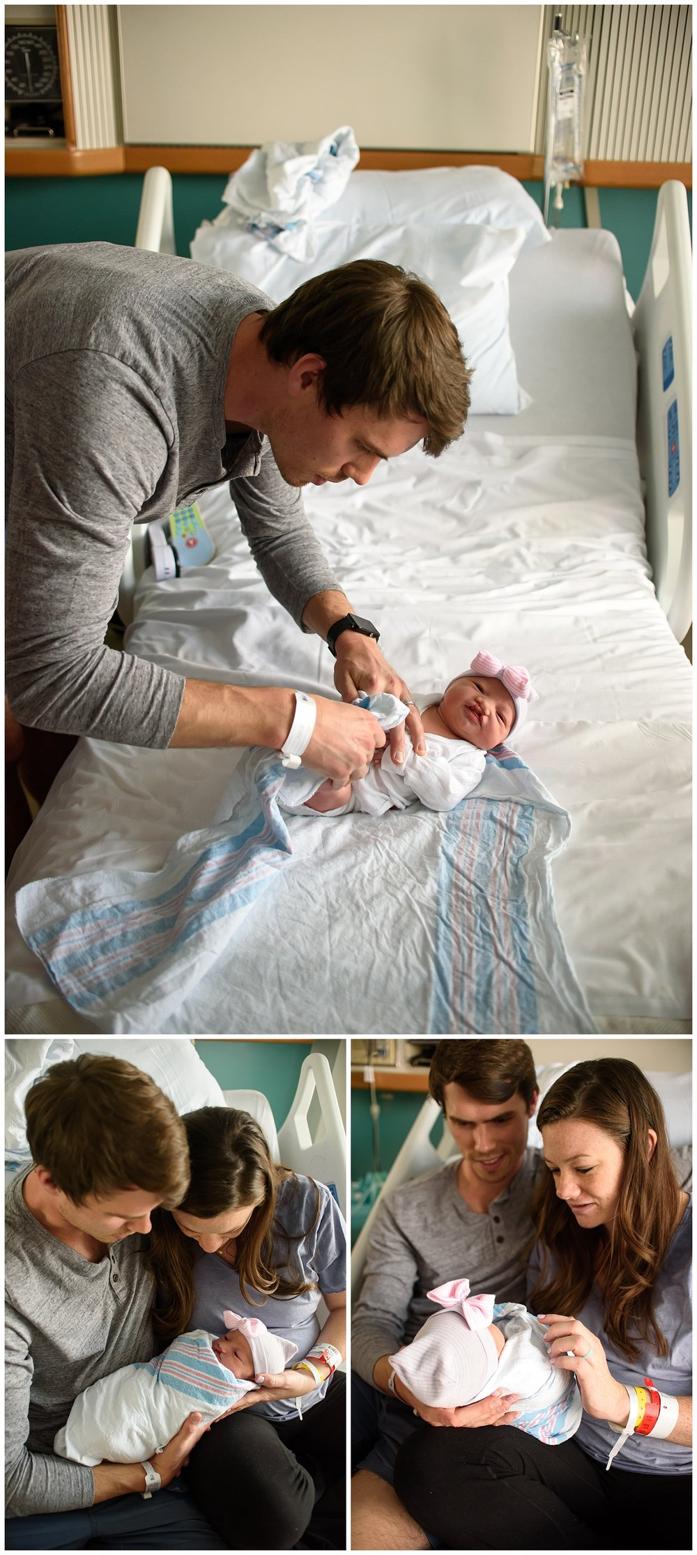 these are images of a father dressing his newborn baby girl during a fresh 48 newborn session in atlanta, georgia. these images were taken at piedmont hospital.