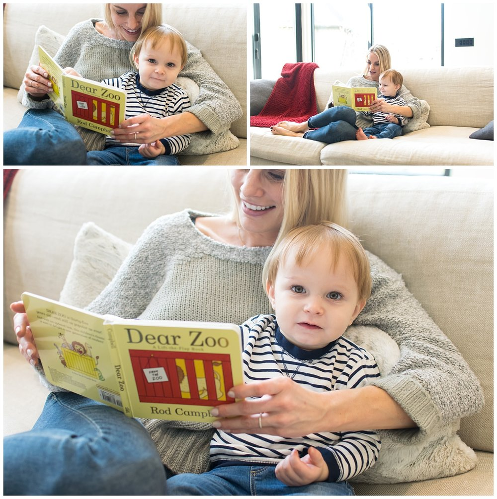 this are side by side images of a mother and her toddler son sitting on the couch reading a book during a lifestyle in home session in atlanta, georgia.