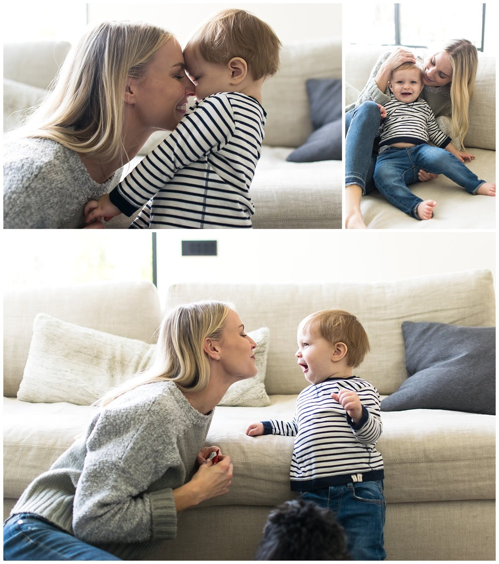these are side by side images of a mother and her toddler son playing on the couch and snuggling with each other during an in home lifestyle session in atlanta, georgia.