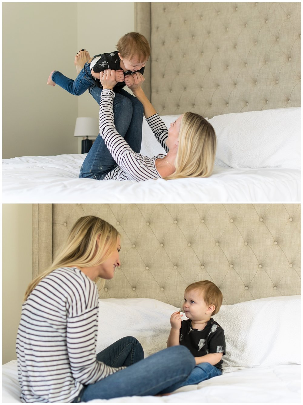 these are images of a mother and her toddler son sitting in the master bedroom playing on the bed. the images were taken during a lifestyle in home session in atlanta, georgia.