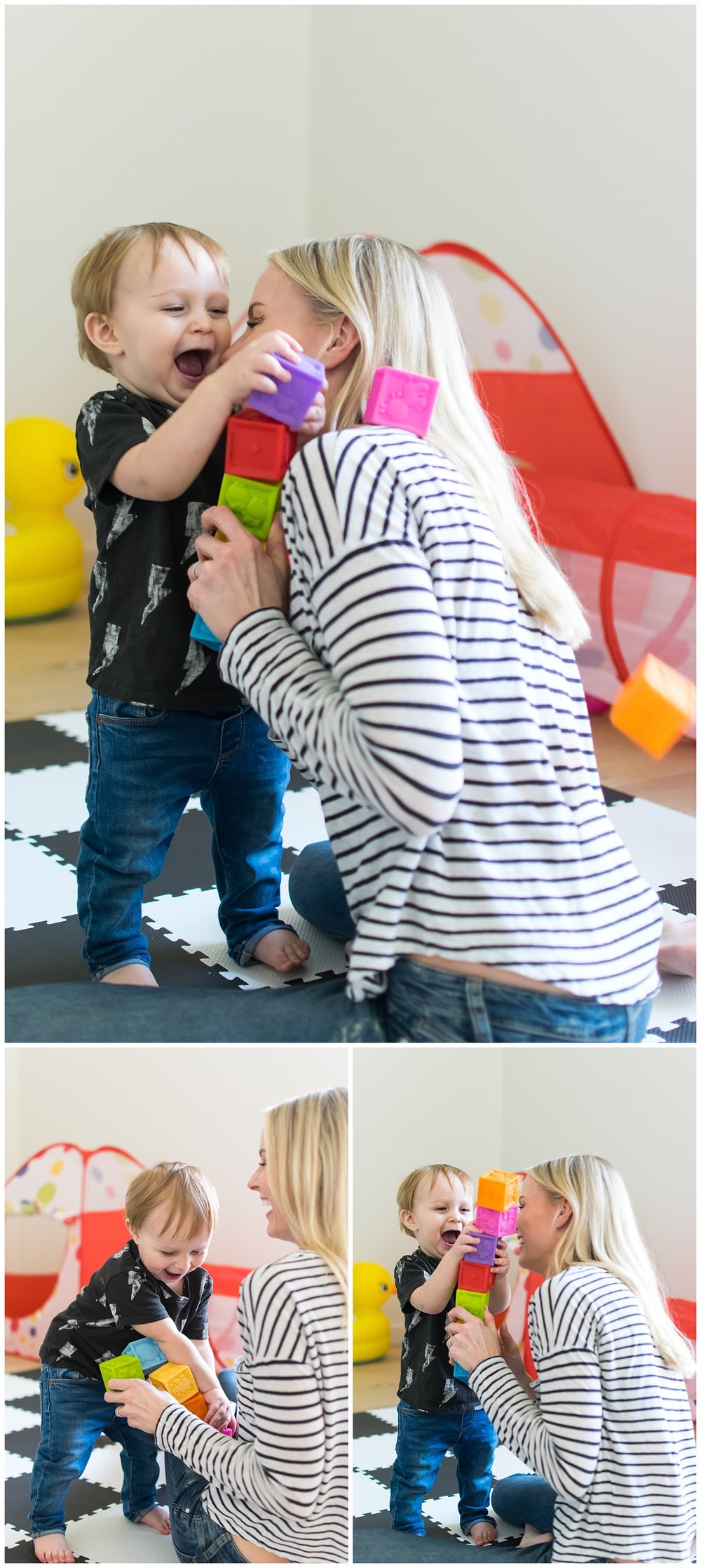 these are images of a mother and a toddler during a mommy and me session playing with blocks in the child's playroom.