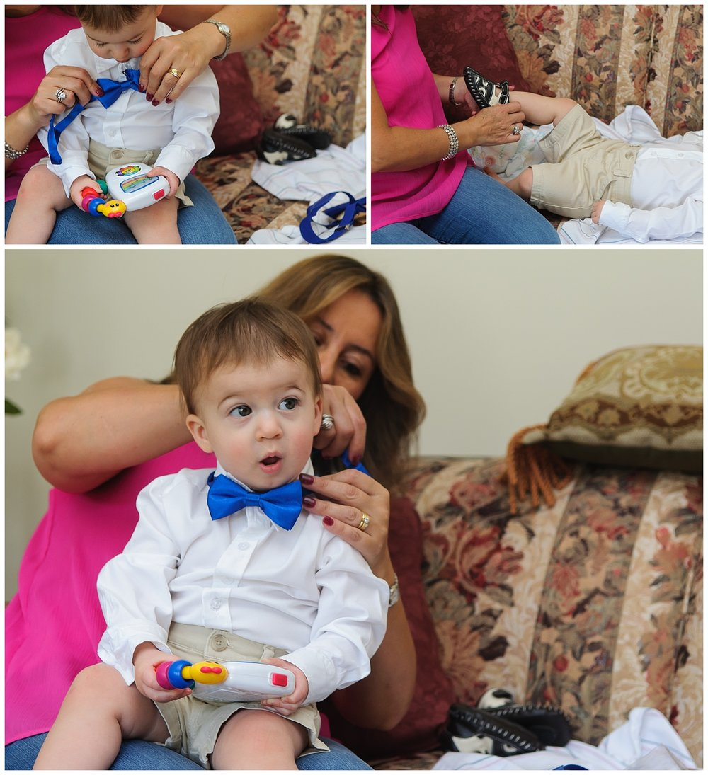 this is a collage of a grandmother dressing her grandchild boy for his one year birthday party in marietta, georgia.
