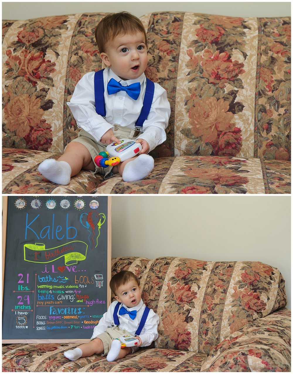 this is a stacked image of a one year old boy sitting on the couch getting ready for his one year old birthday party in marietta, georgia.