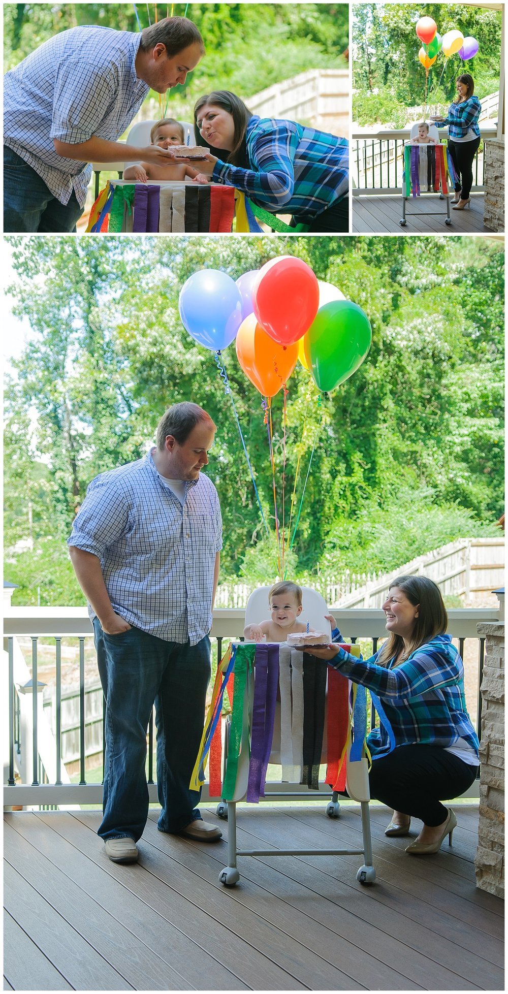 these are stacked images of a mother, father, and their one year old son. they are outside with balloons and birthday cake and the child is about to have a cake smash.