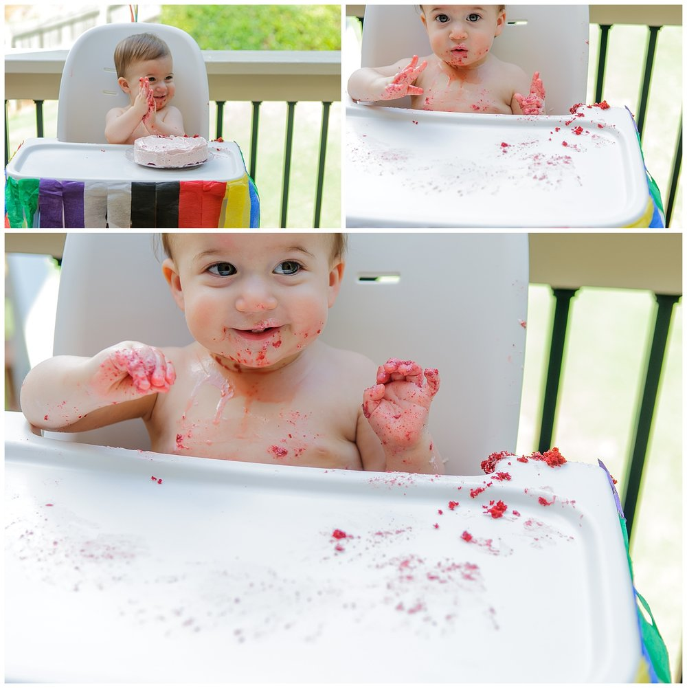 these are images of a child with birthday cake on his face and hands. the images were taken at a one year old cake smash in  marietta, georgia.