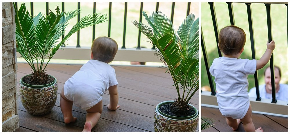 these are side by side images of a one year old crawling on the patio and then looking below at his father through the gate.