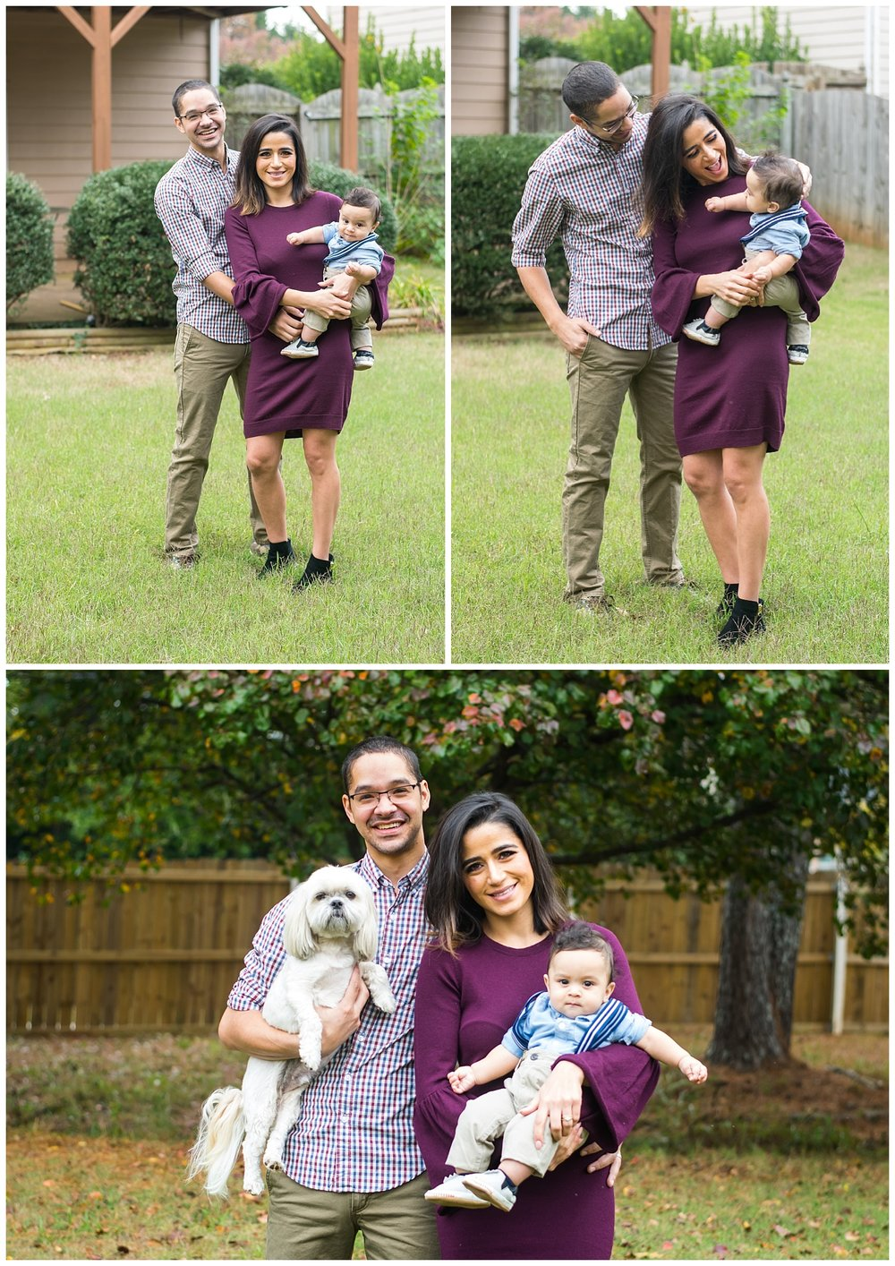 this is a collage image of a family of three- a mother, father, and their six month old baby boy in marietta georgia