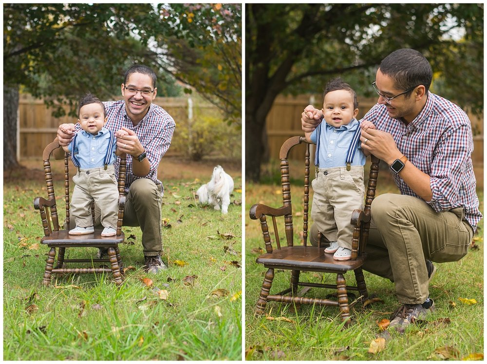 these are images of a dad holding his six month old baby boy and supporting him to stand on a rocking chair. they are both laughing and looking at the camera