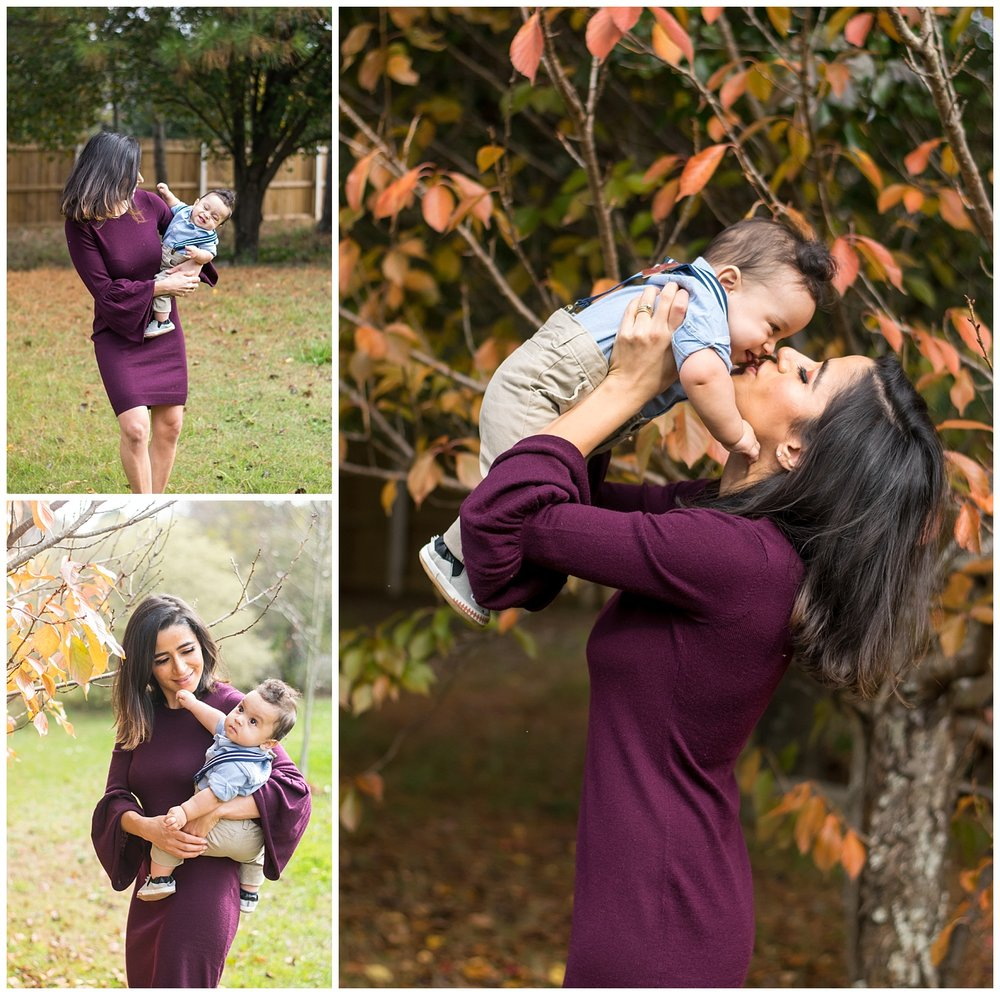 these are candid images of mom holding her baby boy outside and walking, looking at the trees, and kissing. these were taken during an in home lifestyle session in marietta, georgia.