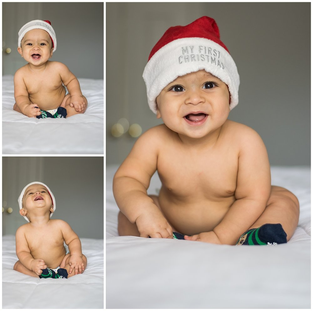 this is a collage of images of a six month old baby boy sitting on the bed and wearing a christmas hat.