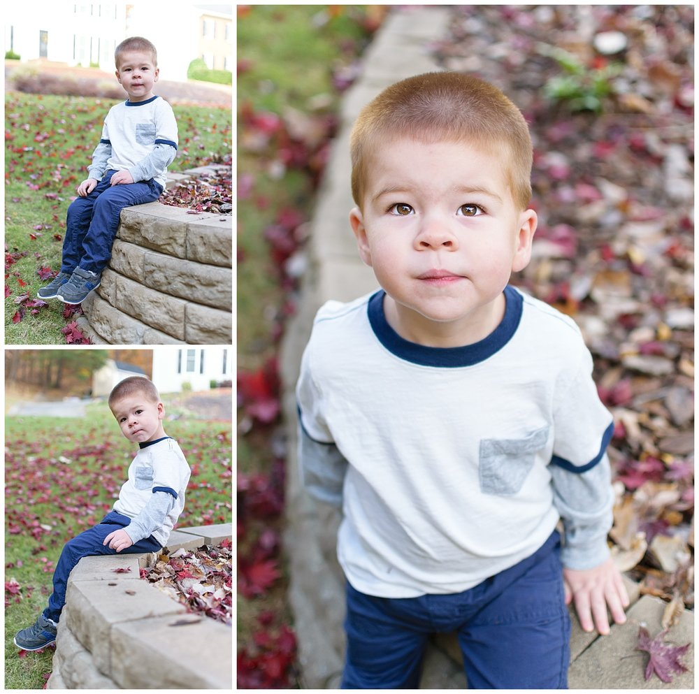 this is a collage of images of a toddler boy during a lifestyle family session. these were taken in the frontyard of the family's home in marietta, georgia