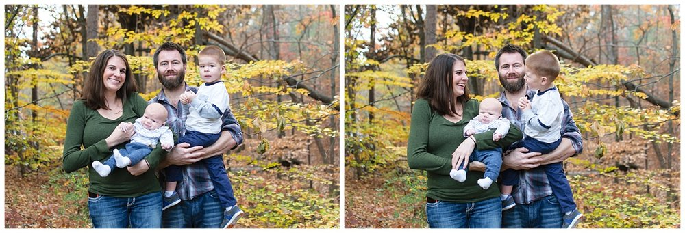 these are side by side images of a family in their backyard. they were taken during an in home lifestyle session in marietta, georgia
